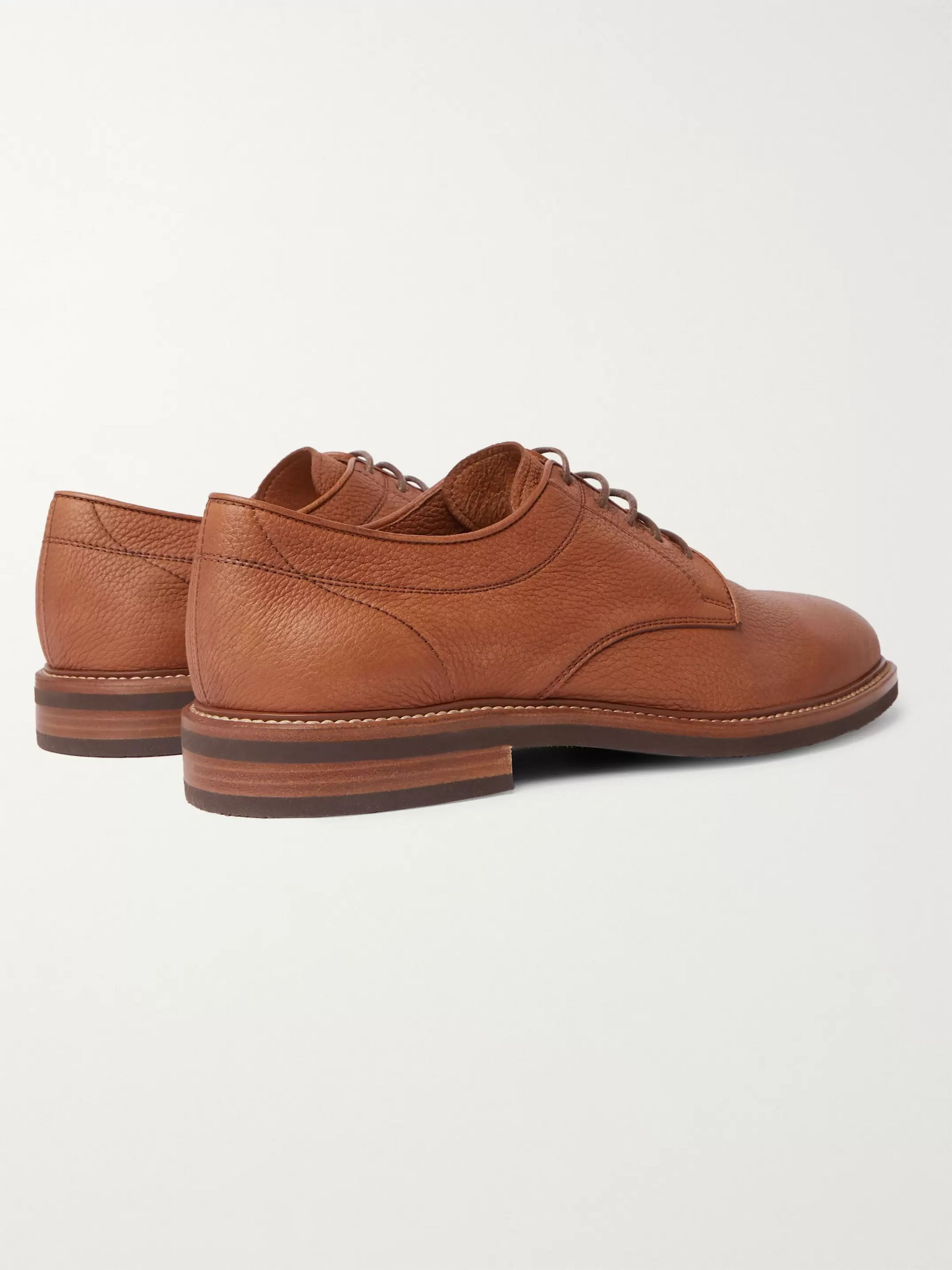 Brunello Cucinelli Pebble-Grain Leather Derby Shoes