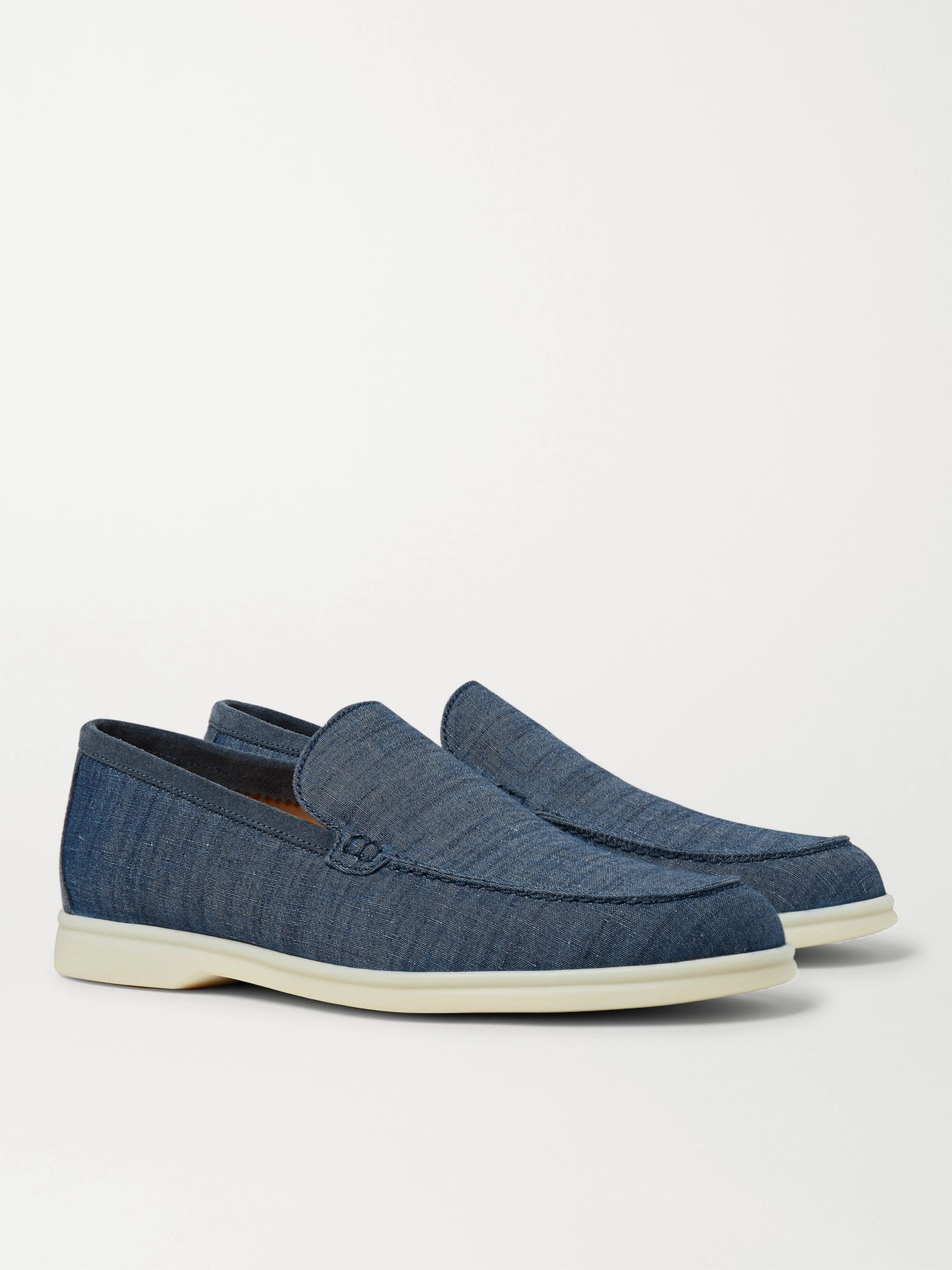 Loro Piana Summer Walk Suede-Trimmed Cotton and Linen-Blend Chambray Loafers