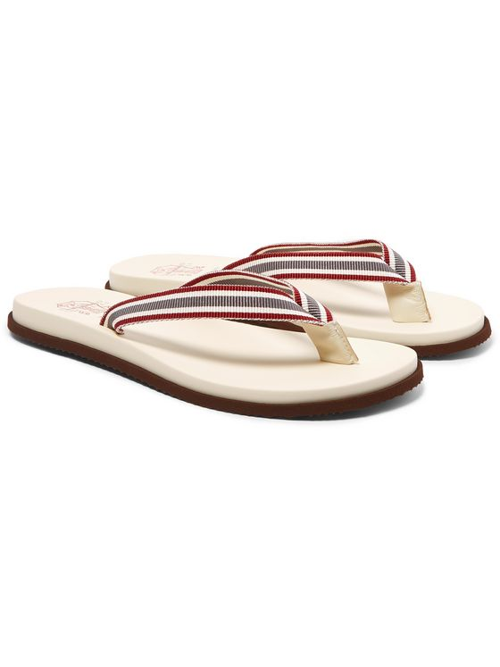 Brunello Cucinelli Striped Webbing, Leather and Rubber Flip Flops
