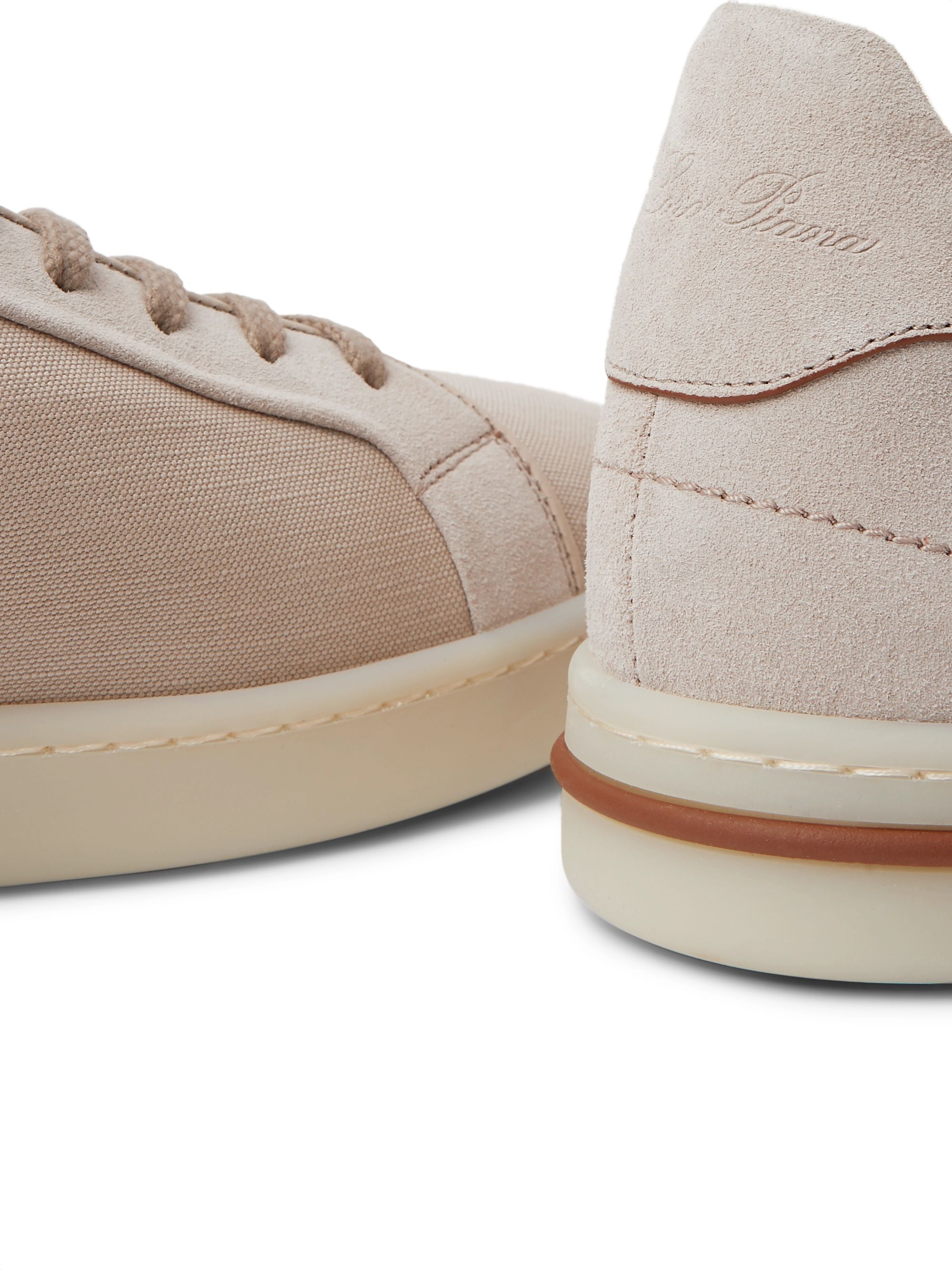 Beige Traveller Suede And Canvas Sneakers | Loro Piana