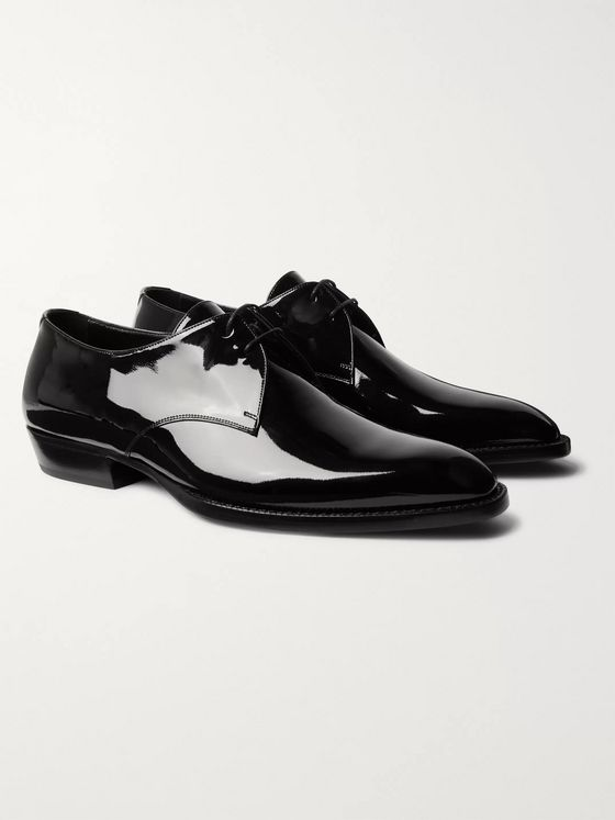 SAINT LAURENT Wyatt Patent-Leather Derby Shoes