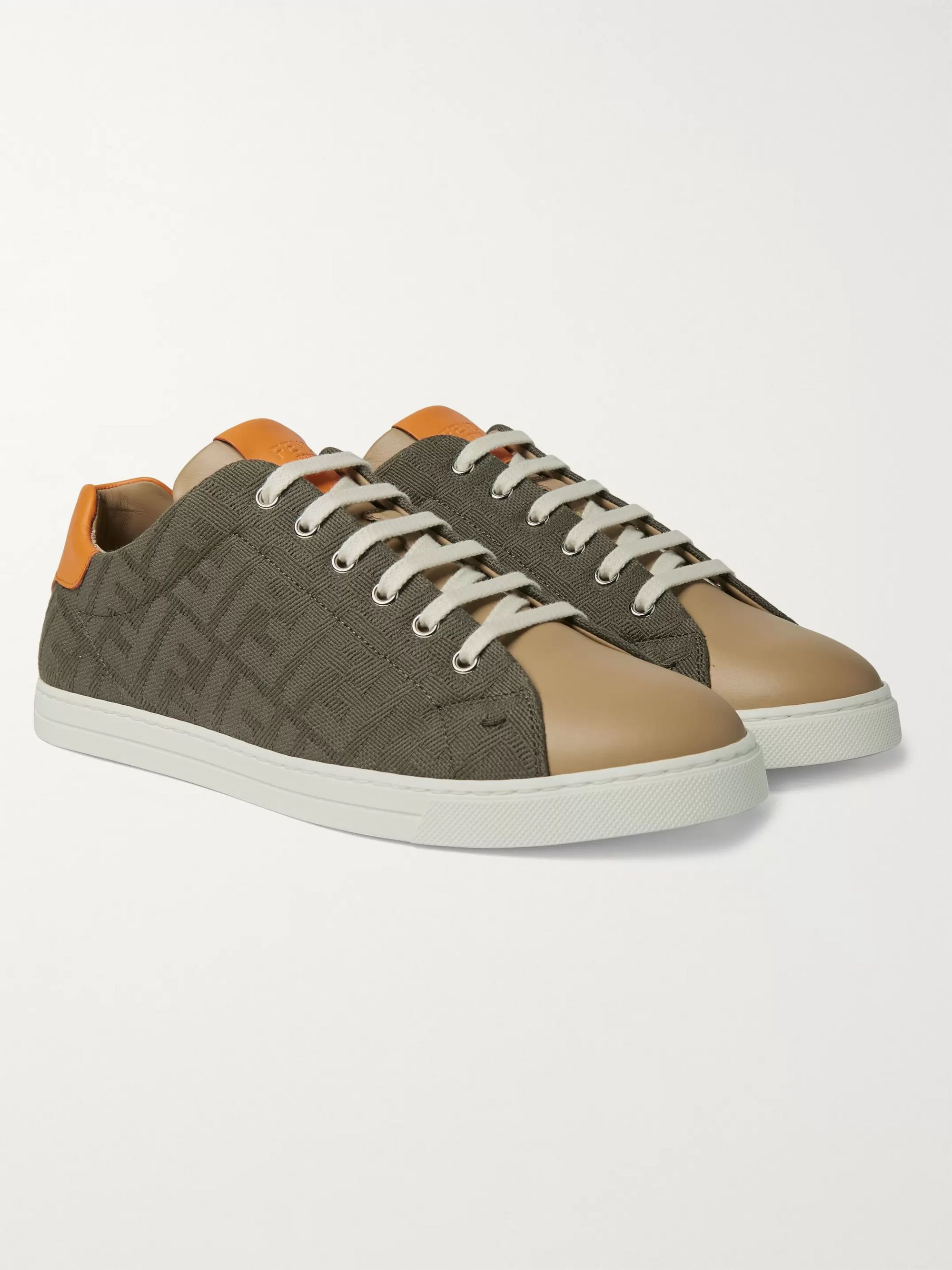 Fendi Logo-Jacquard Canvas and Leather Sneakers