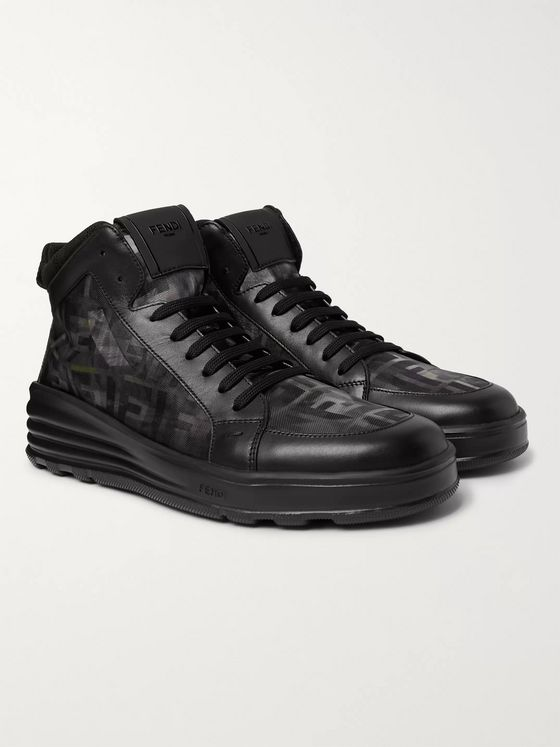 Fendi Leather and Camouflage-Print Mesh High-Top Sneakers