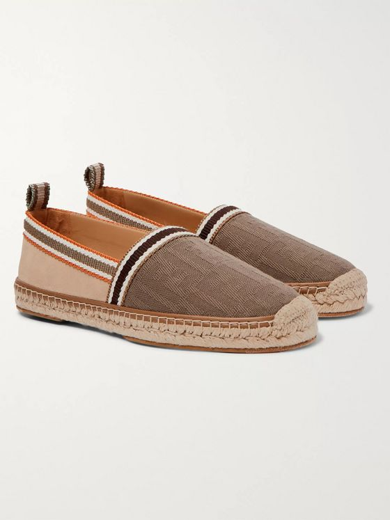 Fendi Logo-Jacquard Canvas and Suede Espadrilles