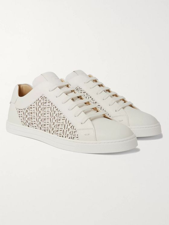 Fendi Logo-Detailed Laser-Cut Leather Sneakers