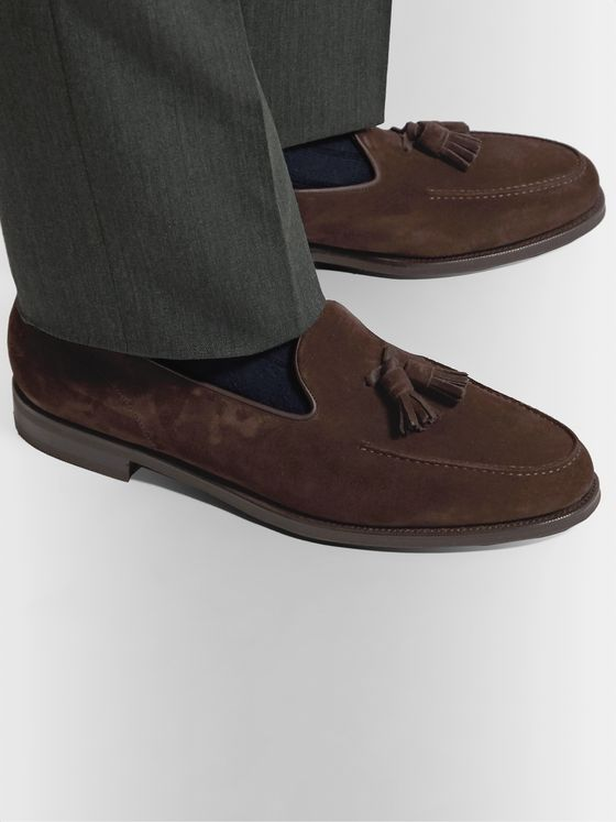 Edward Green Cromer Leather-Trimmed Suede Tassled Loafers