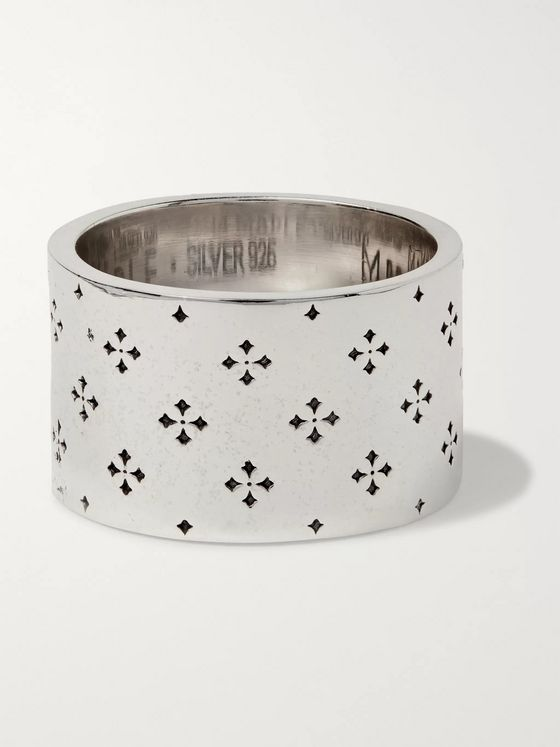 MAPLE Iron Cross Engraved Sterling Silver Ring