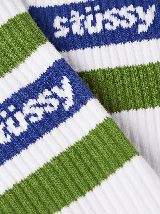 Stüssy Logo-Intarsia Striped Cotton-Blend Socks