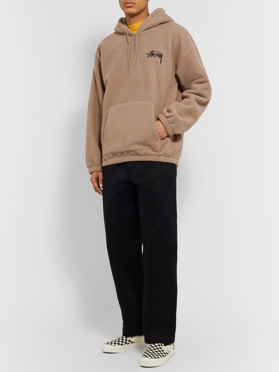 Stüssy Bronson Logo-Embroidered Fleece Hoodie