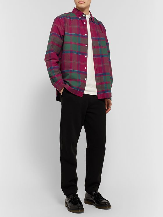 Stüssy Button-Down Collar Checked Cotton-Poplin Shirt