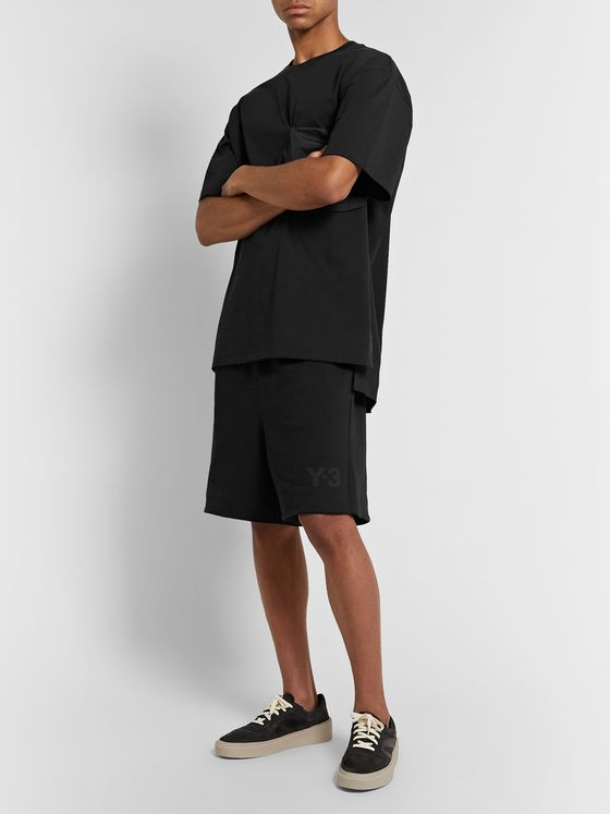 Y-3 Wide-Leg Shell-Trimmed Loopback Cotton-Jersey Drawstring Shorts