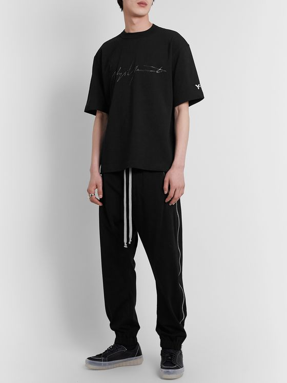 Y-3 Distressed Logo-Print Cotton-Jersey T-Shirt