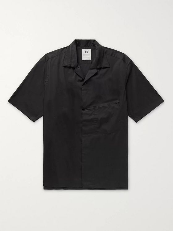 Y-3 Camp-Collar Cotton-Blend Poplin Shirt