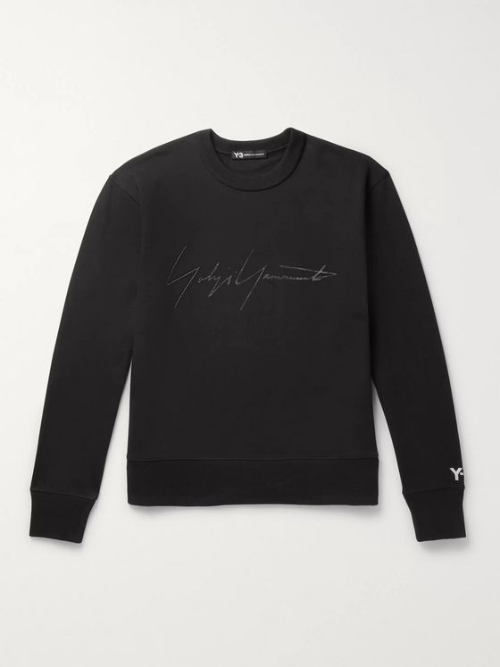 Y-3 Distressed Logo-Print Loopback Cotton-Jersey Sweatshirt