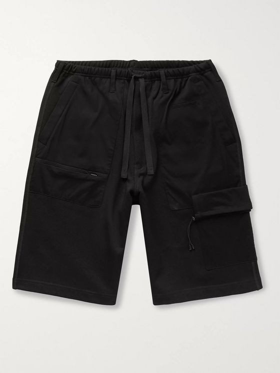 Y-3 Wide-Leg Panelled Piqué and Cotton-Blend Jersey Drawstring Shorts