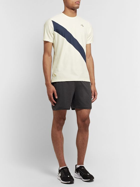 Tracksmith Van Cortlandt Striped Stretch-Mesh T-Shirt