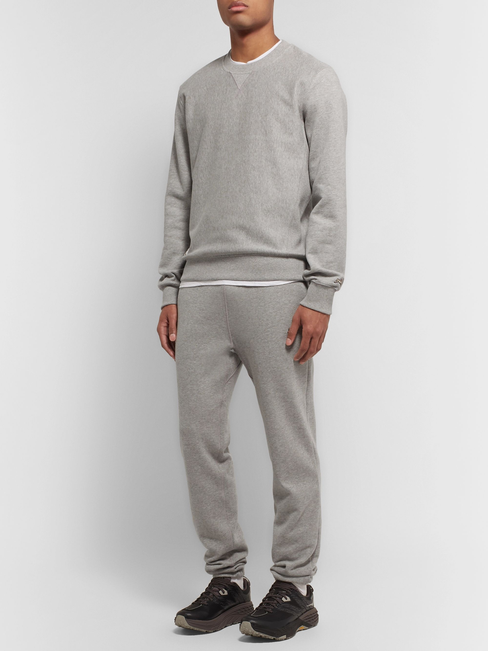 Tracksmith Trackhouse Mélange Fleece-Back Cotton-Blend Jersey Sweatpants