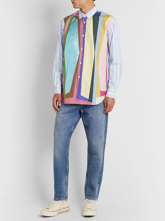 Comme des Garçons SHIRT Panelled Striped Cotton-Poplin Shirt