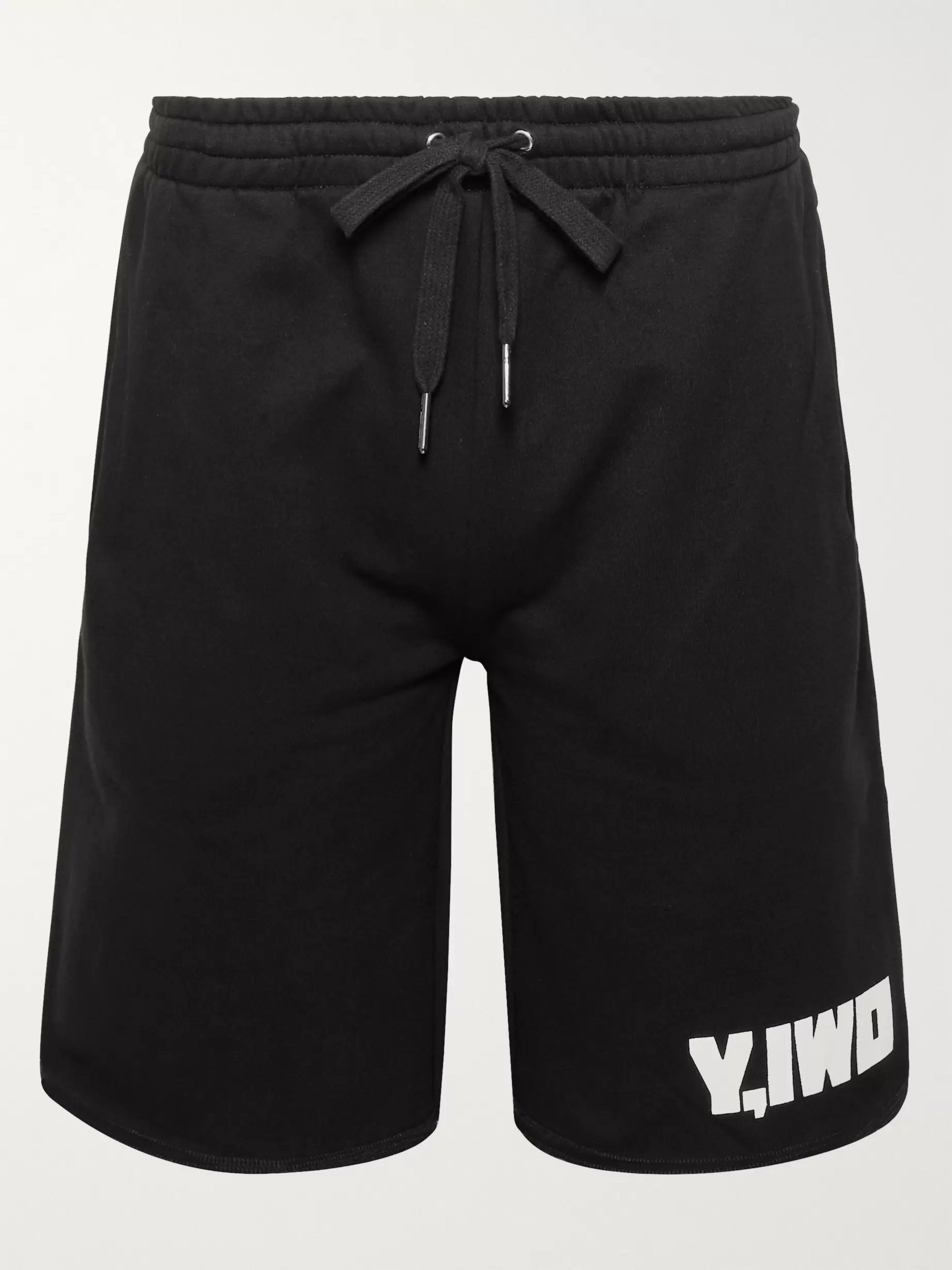 Y,IWO Logo-Print Loopback Cotton-Jersey Drawstring Shorts