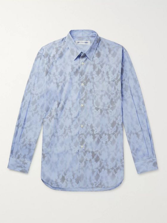Comme des Garçons SHIRT Printed Striped Cotton-Poplin Shirt