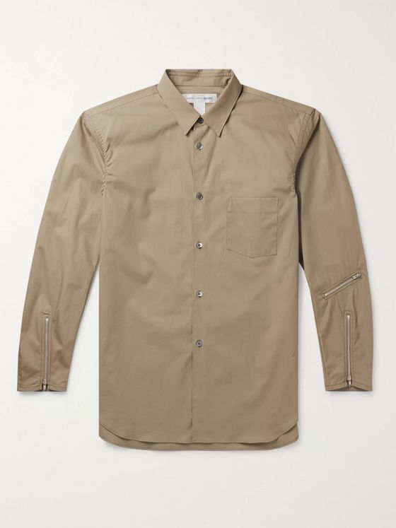Comme des Garçons SHIRT Slim-Fit Zip-Embellished Cotton-Poplin Shirt