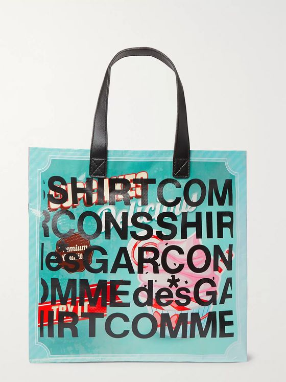 Comme des Garçons SHIRT Leather-Trimmed Printed PVC Tote Bag