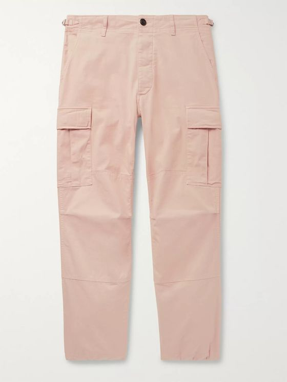 Aries Garment-Dyed Herringbone Stretch-Cotton Cargo Trousers