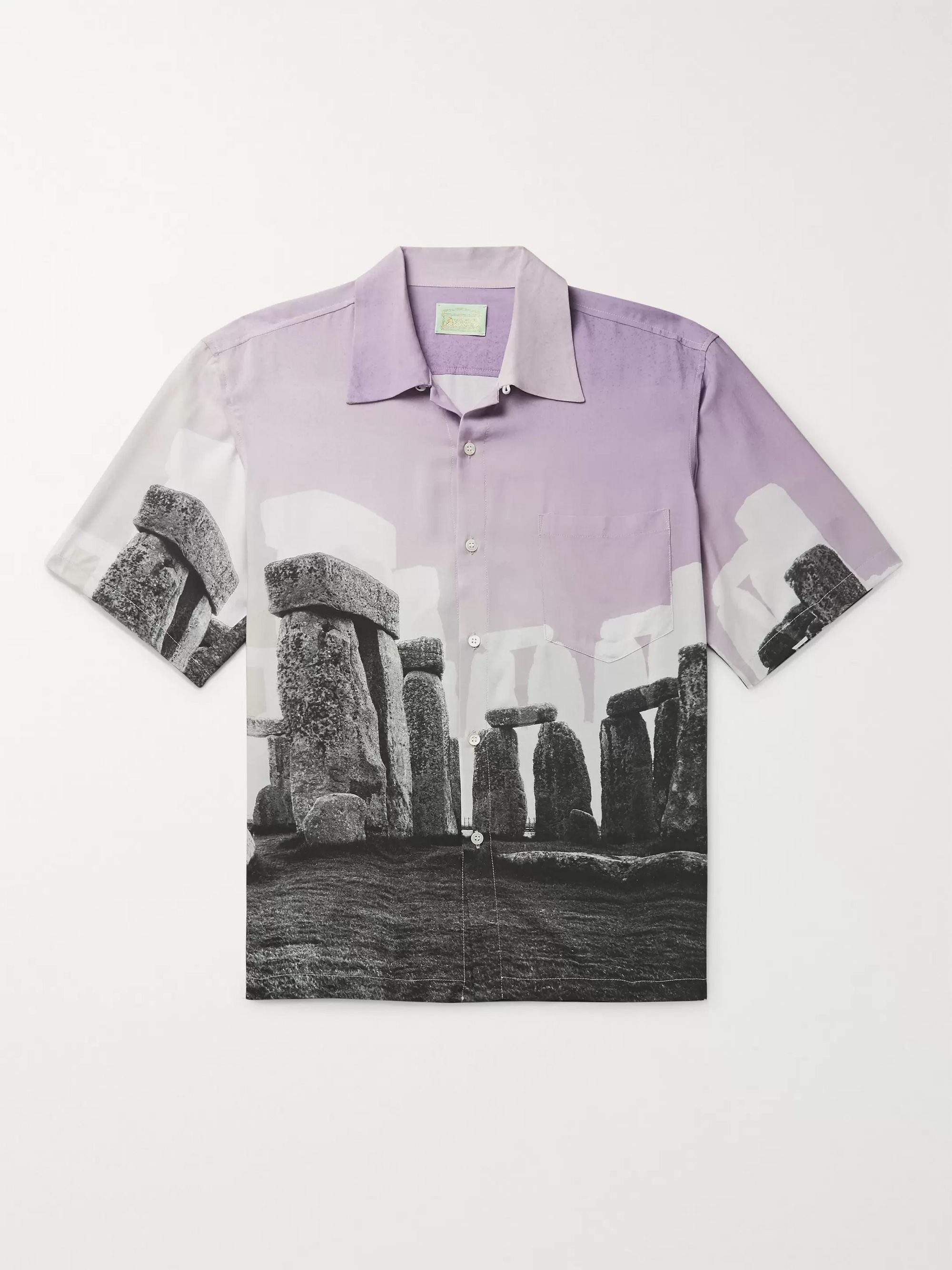 Aries + Jeremy Deller Camp-Collar Printed Woven Shirt