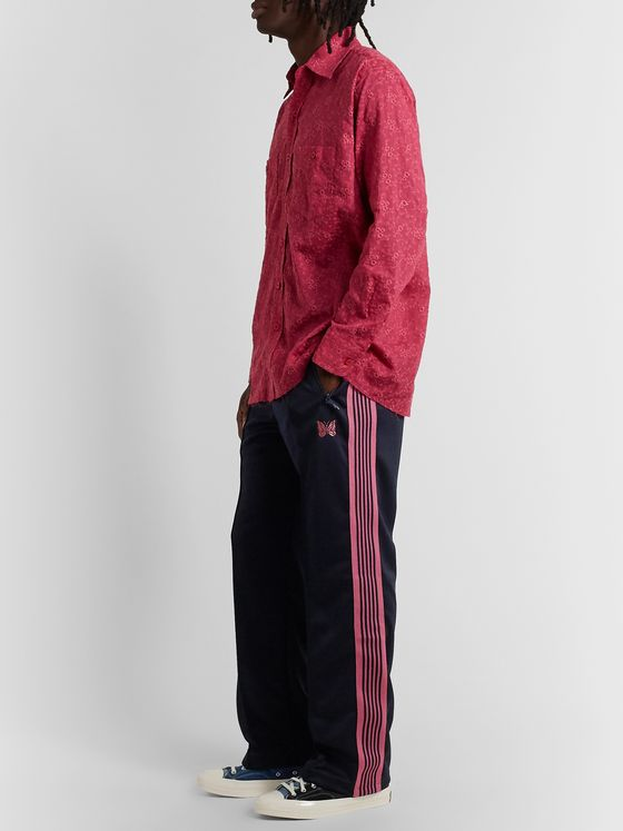 Needles Striped Grosgrain-Trimmed Tech-Jersey Track Pants