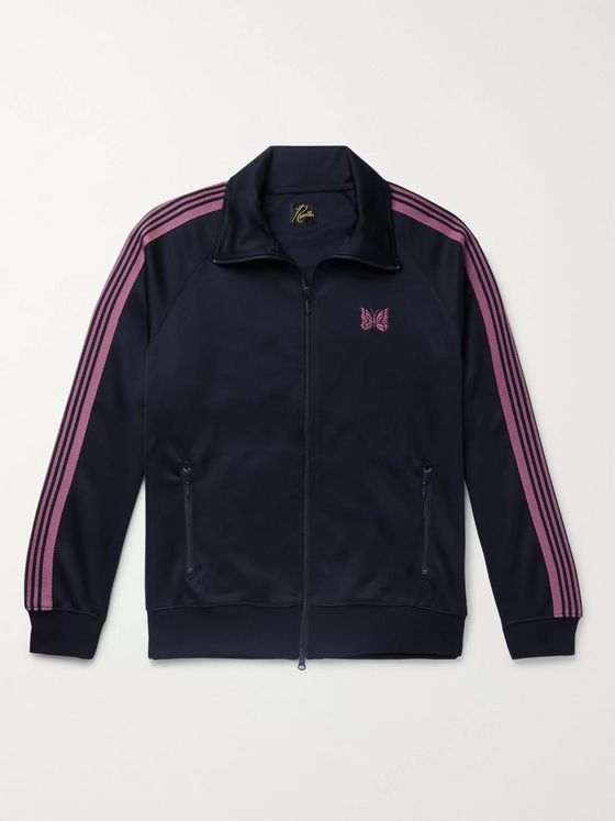 Needles Striped Grosgrain-Trimmed Tech-Jersey Zip-Up Track Jacket