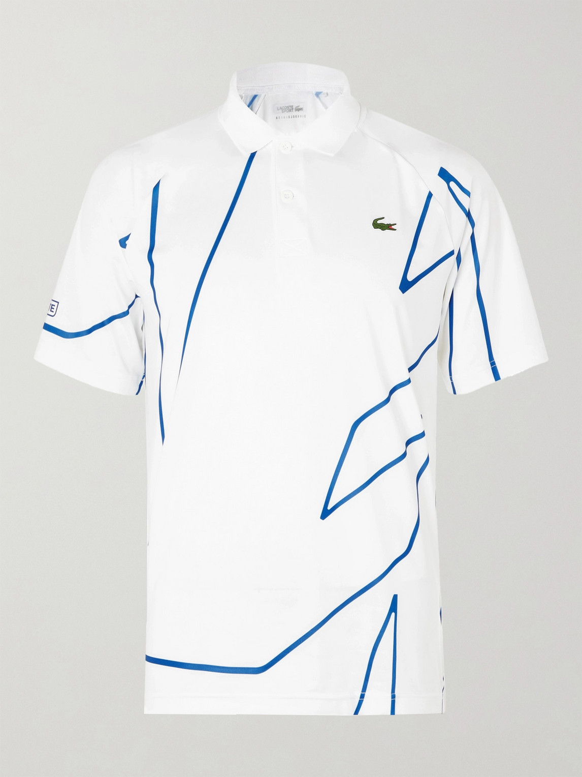 Lacoste Tennis Novak Djokovic Printed Stretch Jersey Polo Shirt In White Modesens
