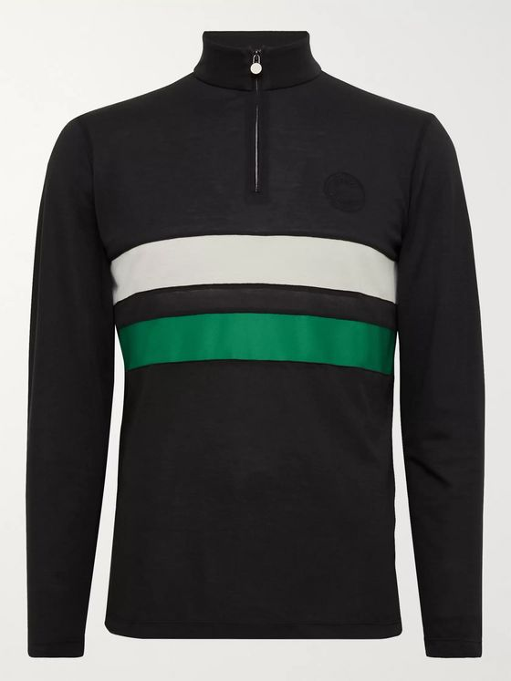 Iffley Road Worthing Striped Drirelease Piqué Half-Zip Top