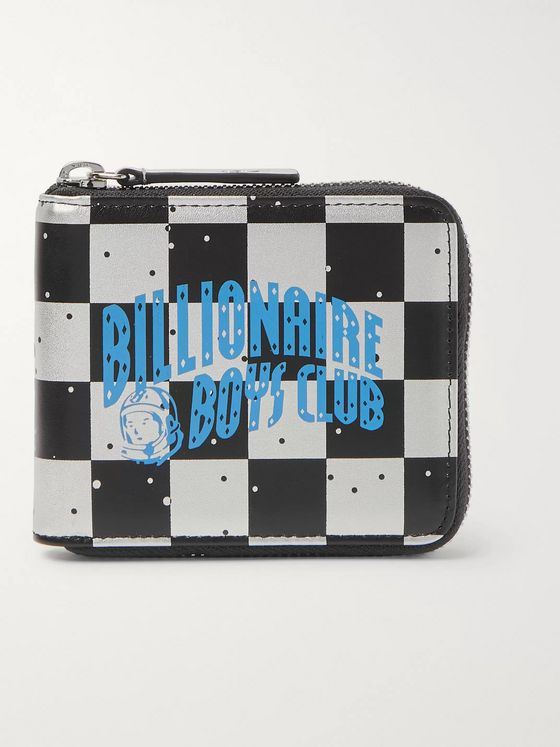 Billionaire Boys Club Logo-Print Checkerboard Metallic Leather Zip-Around Wallet