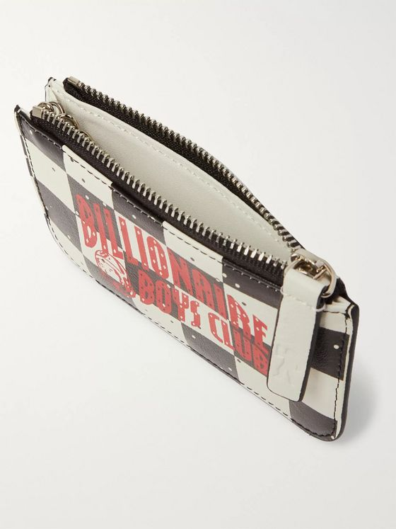 Billionaire Boys Club Logo-Print Checkerboard Leather Wallet
