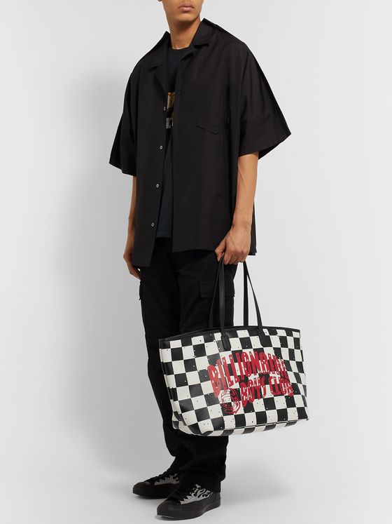 Billionaire Boys Club Logo-Print Checkerboard Leather Tote Bag