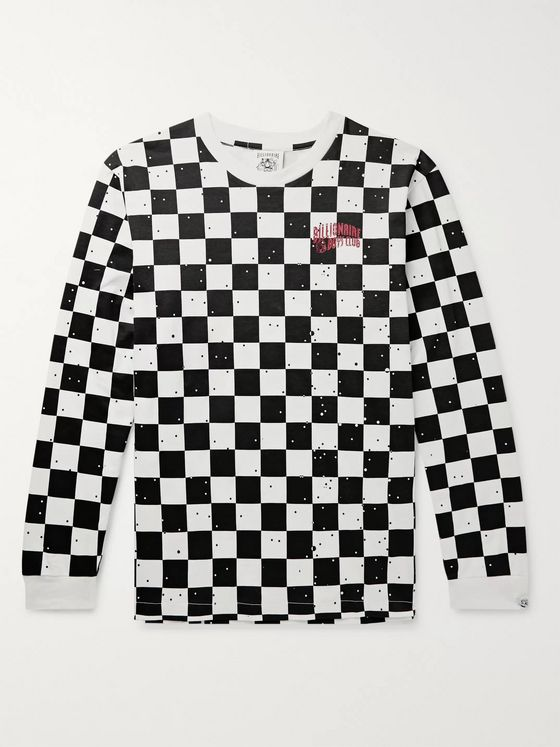 Billionaire Boys Club Logo-Print Checked Cotton-Jersey T-Shirt