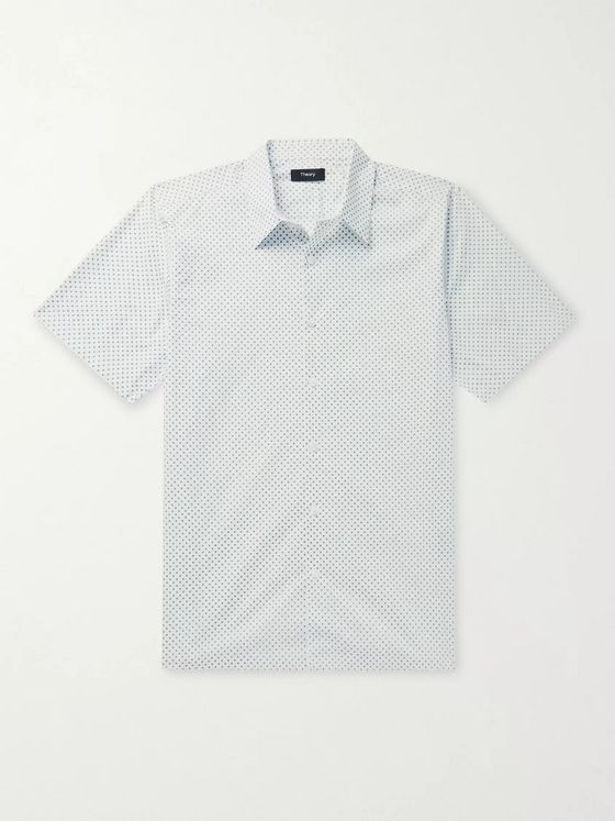 Theory Irving Slim-Fit Printed Stretch-Cotton Poplin Shirt