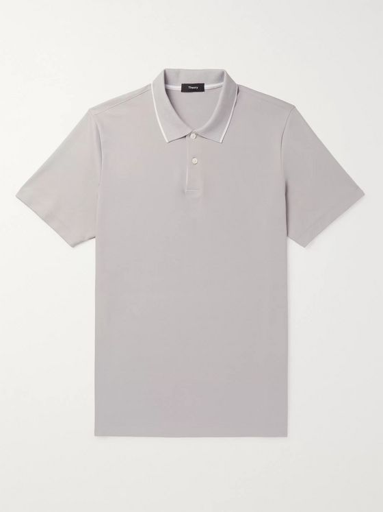 Theory Slim-Fit Contrast-Tipped Pima Cotton-Blend Polo Shirt