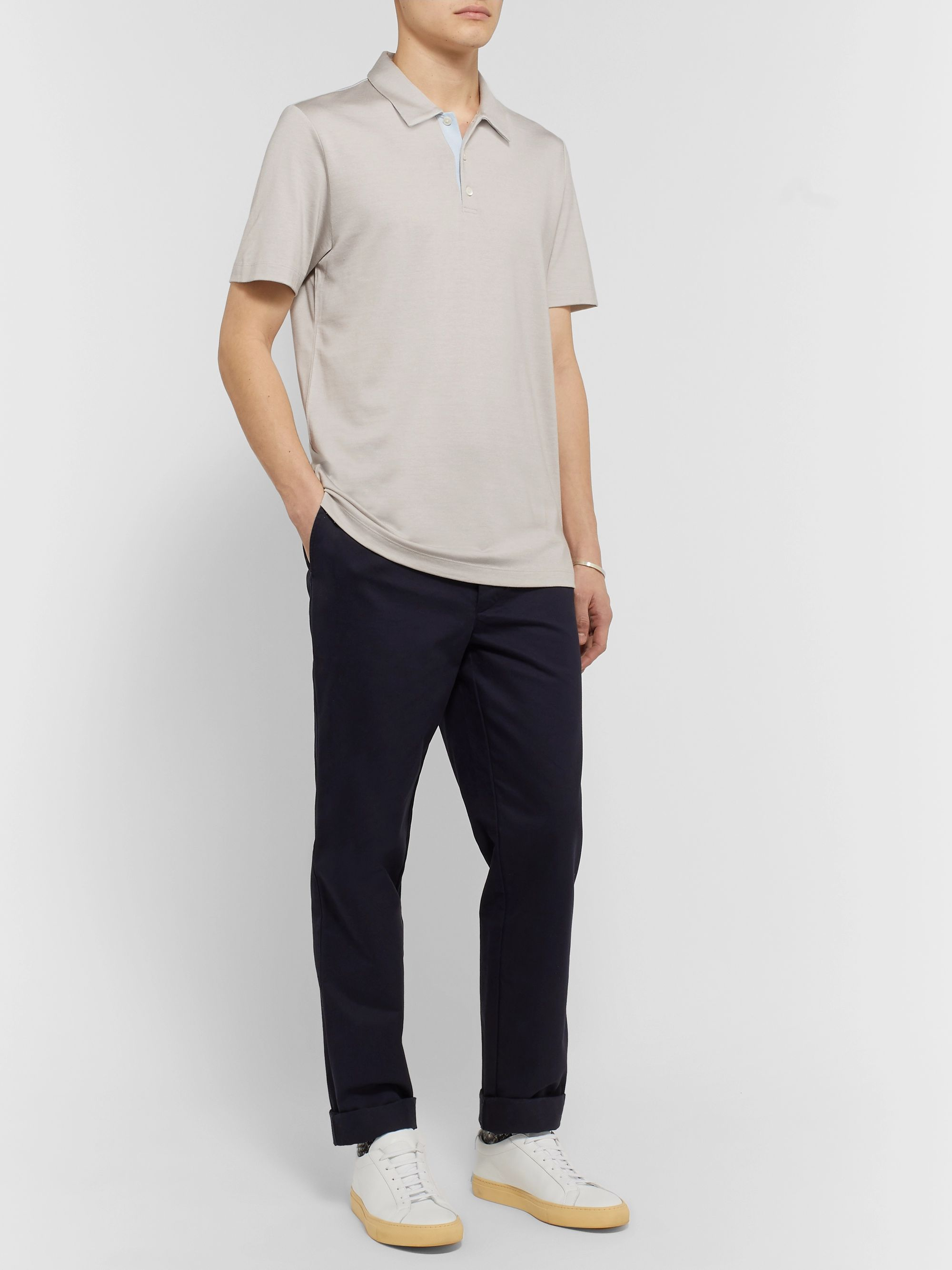 Theory Slim-Fit Silk and Cotton-Blend Polo Shirt