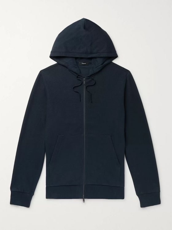 Theory Mattis Waffle-Knit Organic Pima Cotton Zip-Up Hoodie