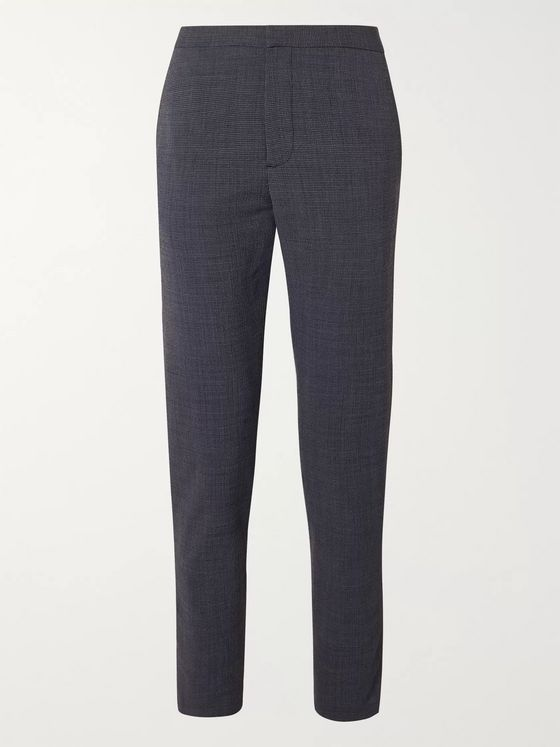 Theory Curtis Tapered Puppytooth Stretch Wool-Blend Drawstring Trousers