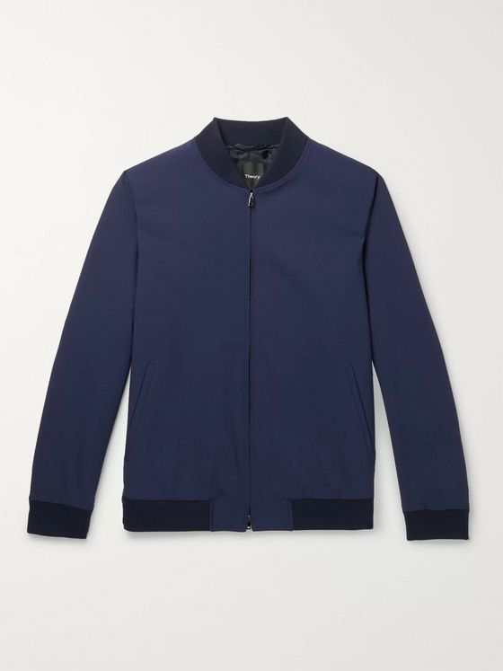Theory Aiden Stretch-Wool Bomber Jacket