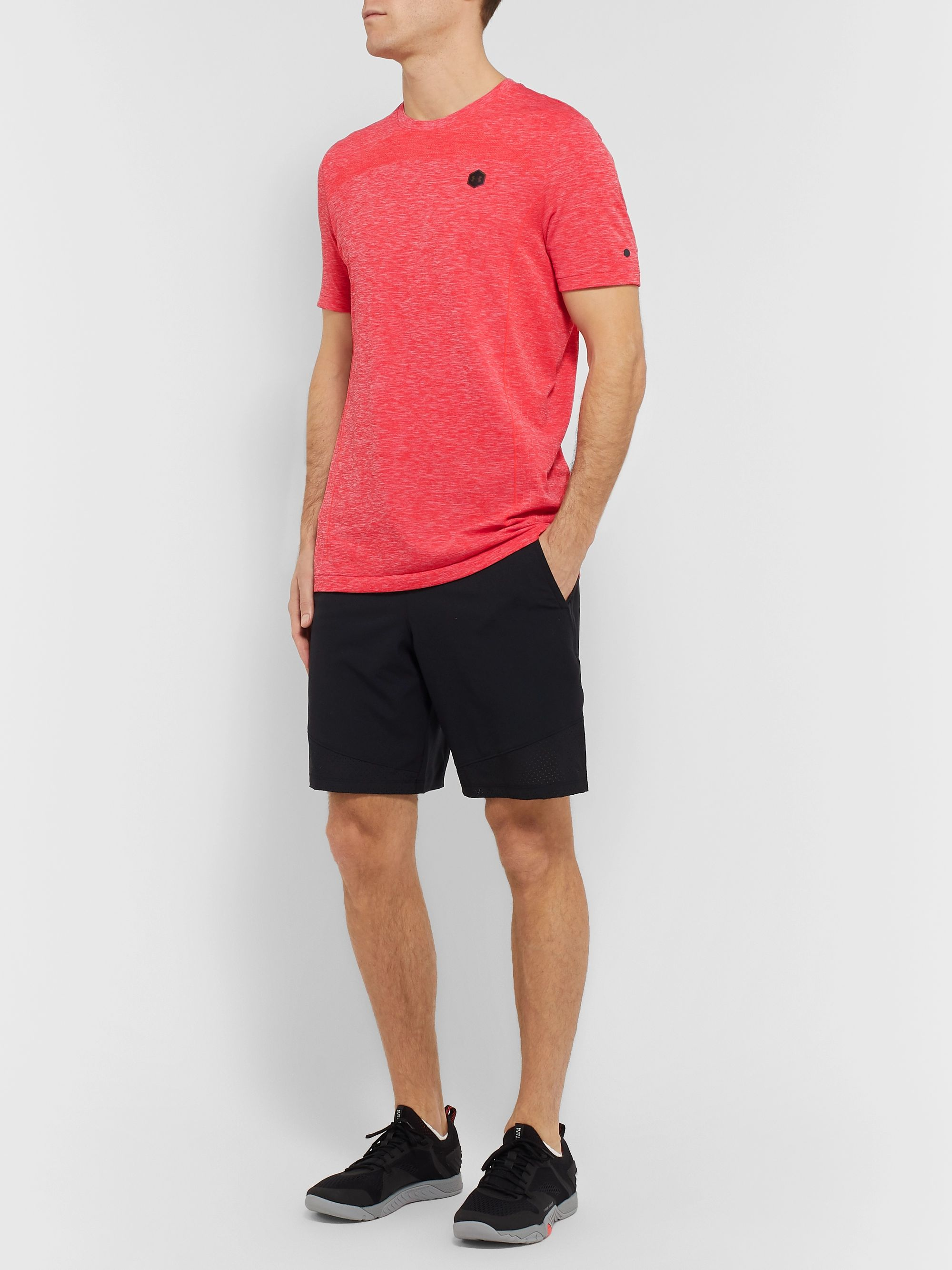 Under Armour UA Rush Mesh-Panelled Celliant Mélange Stretch-Jersey T-Shirt
