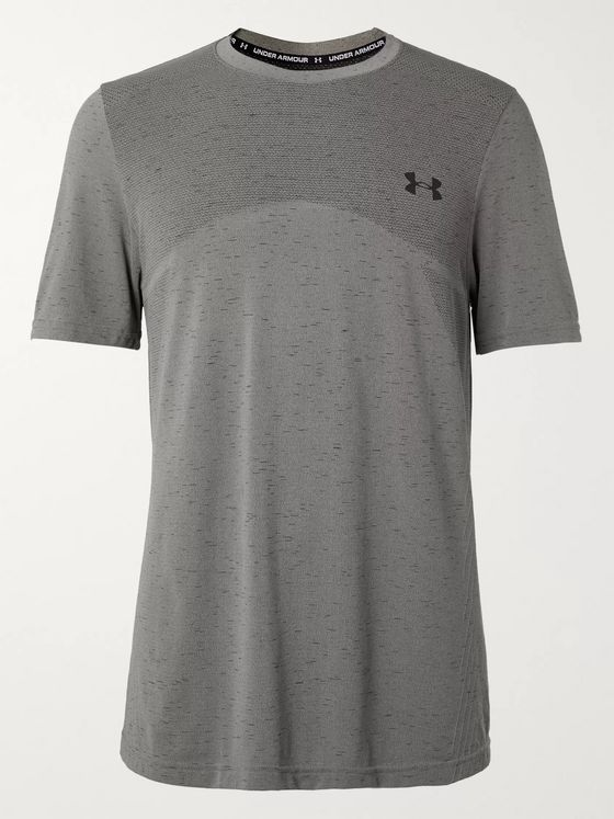 Under Armour Seamless Mesh-Panelled Mélange Jersey T-Shirt