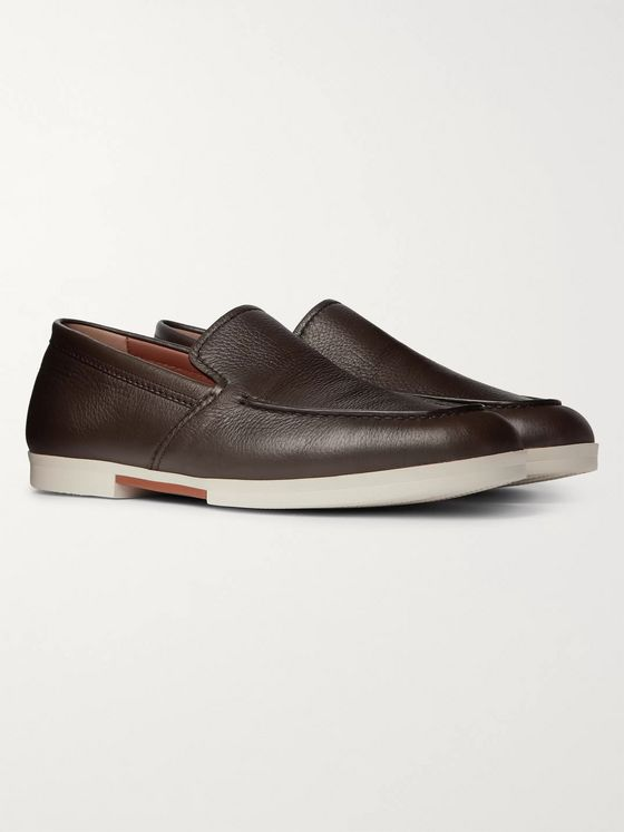 Ermenegildo Zegna Textured-Leather Loafers