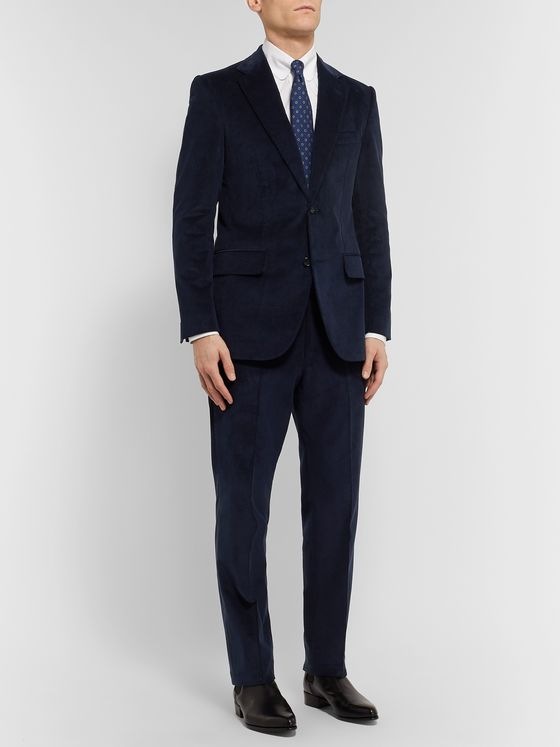 Husbands Navy Slim-Fit Cotton-Corduroy Suit