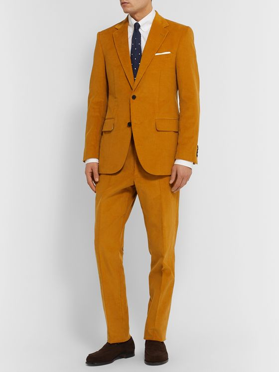 Husbands Mustard Slim-Fit Cotton-Corduroy Suit