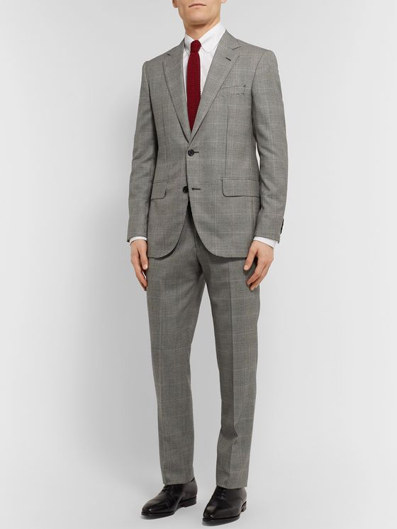 Husbands Grey Delon Slim-Fit Prince Of Wales Checked Wool Suit