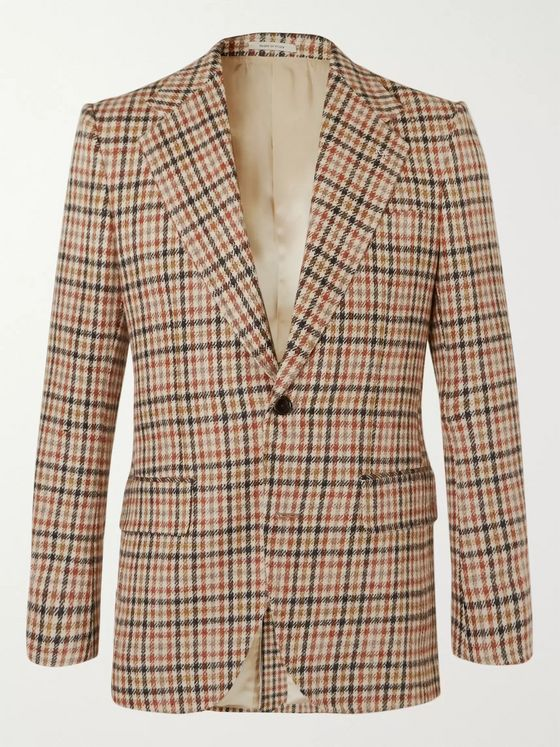 Husbands Jarvis Slim-Fit Checked Wool Blazer