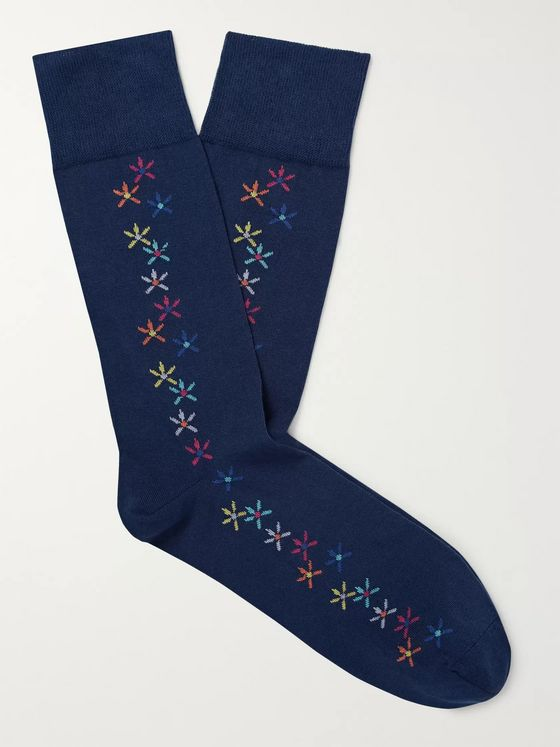 Richard James Intarsia Cotton-Blend Socks